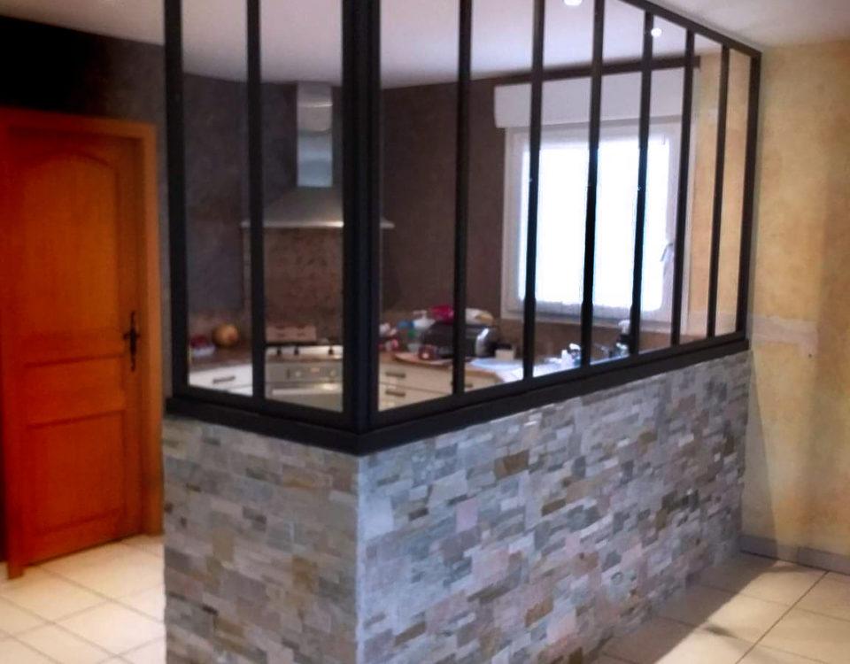 cloison vitree cuisine sur mesure artisanale