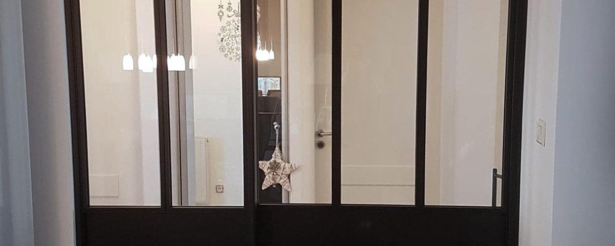 cloison vitrée porte coulissante sur mesure artisanale